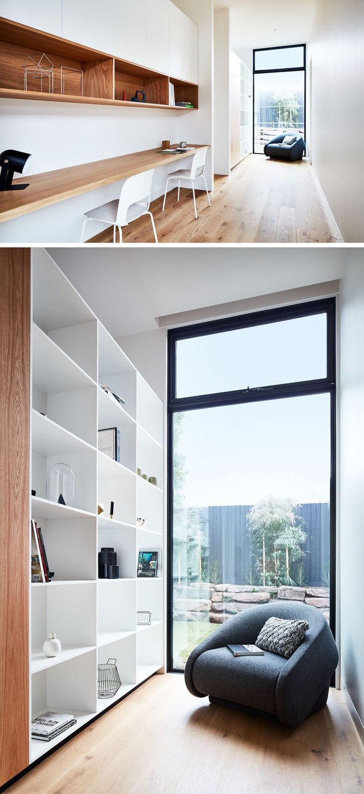 In this modern house, a home office (or homework station) has been tucked into a hallway. It has a long wood desk and open wood shelving, and next to the window is a small library area with a bookcase. #HomeOffice #HomeworkStation #HomeLibrary