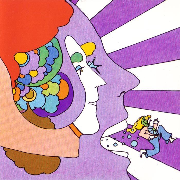 peter max illustration, 1970. Essa ilustração inspirou a criação da logomarca do Colégio Positivo. E o que inspirou essa ilustração foi o album Lucy in the Sky with Diamonds.