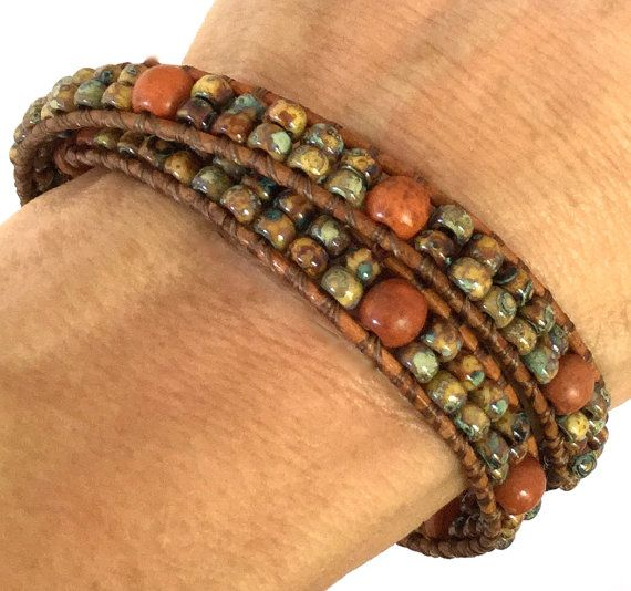 Earth-toned beaded leather wrap bracelet with by MissKooRoosBeads