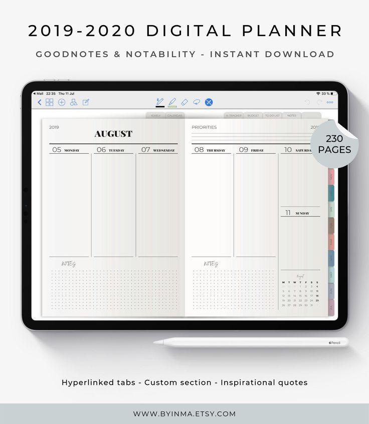 Digital Planner 20192020, Ipad planner, Goodnotes planner
