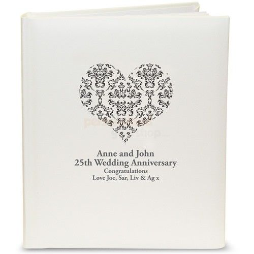Personalised Damask Heart Traditional Photo Album - Black, Silver, Gold or Red  from Personalised Gifts Shop - ONLY £24.95