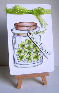handmade St. Patrick's Day card from Simply Create Too ... lovely image of jar full of shamrocks ...