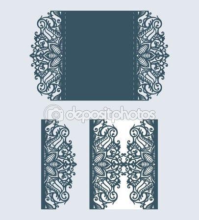 剪纸。婚礼邀请模板。切纸。用纸剪出花边的卡片。激光切割模式 — 图库插图 #107212514