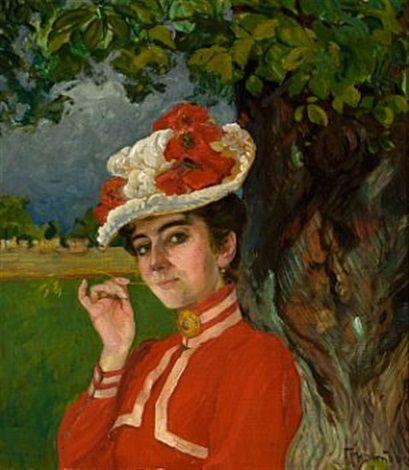 Kvinne i rød kjole og hatt by Thorolf Holmboe on artnet