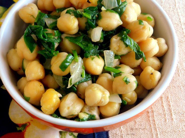 Pitadinha: Salada quente de grão-de-bico e espinafre #segundadasalada
