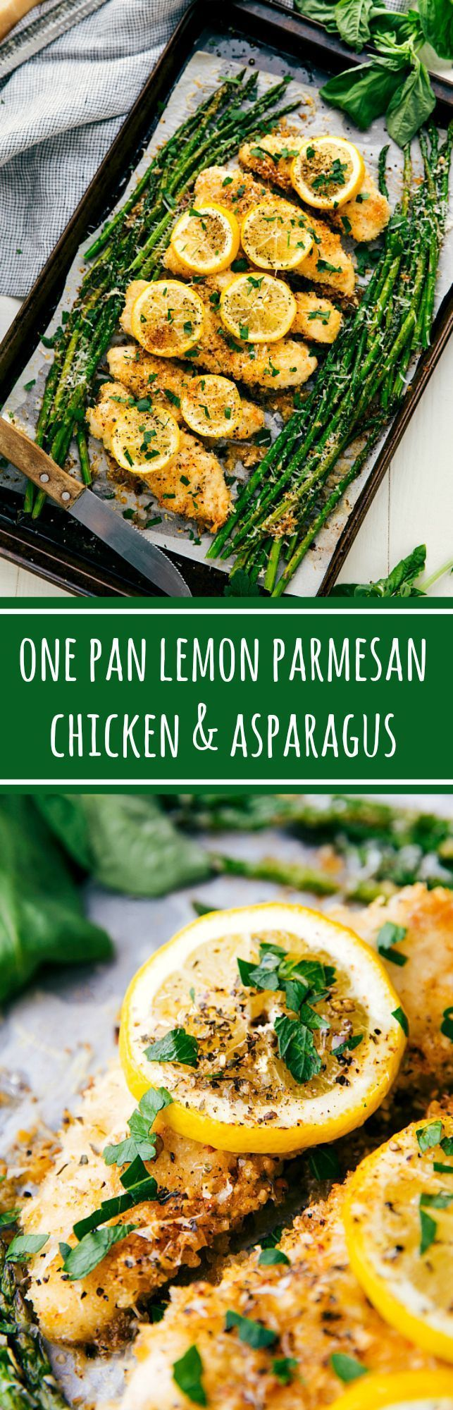 The best ONE PAN homemade lemon garlic Parmesan chicken and asparagus. This easy and mess free recipe is perfect for serving a group or for those busy weeknights