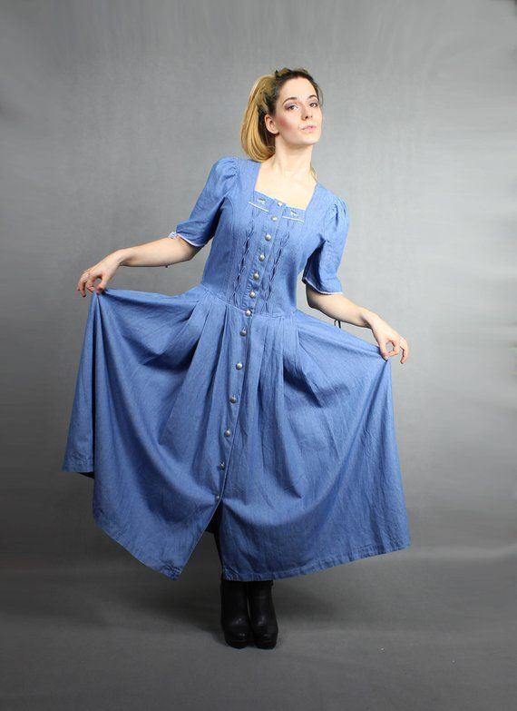 a8e24dd6 80s Bohemian Denim Maxi Boho Puff Sleeve Prairie CORSET Dress. Trachten Jeans  Western Hippie Tiered Long Blue Novelty Duck Print Dress / M