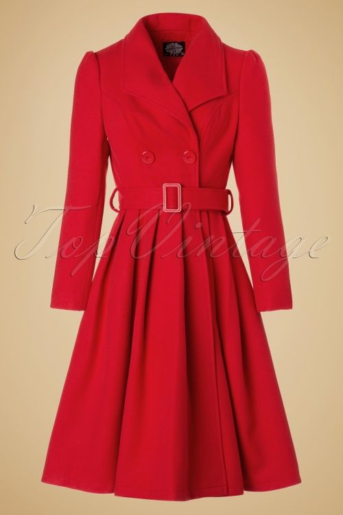 Hearts & Roses ~ 50s Rita Swing Coat in Bright Red