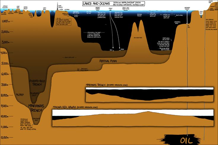 This XKCD Infographic Shows How Much of the Ocean We Dont See..Deep below the ocean's surface is a mysterious world that takes up 95% of Earth's living space and we know very little about it. In this fascinating infographic by XKCD's Randall Munroe, we get a newfound appreciation for the staggering depths of our oceans. The graphic is littered with incredible factoids and witty remarks and Explain XKCD provides a great overview of all the details in the infographic, but here are a few of my…