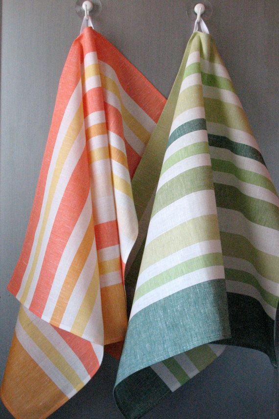 Linen Cotton Towels Dish Tea Towels set of 2 by Coloredworld, $15.90