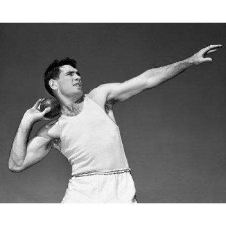 Male athlete throwing a shot put Canvas Art - (24 x 36)