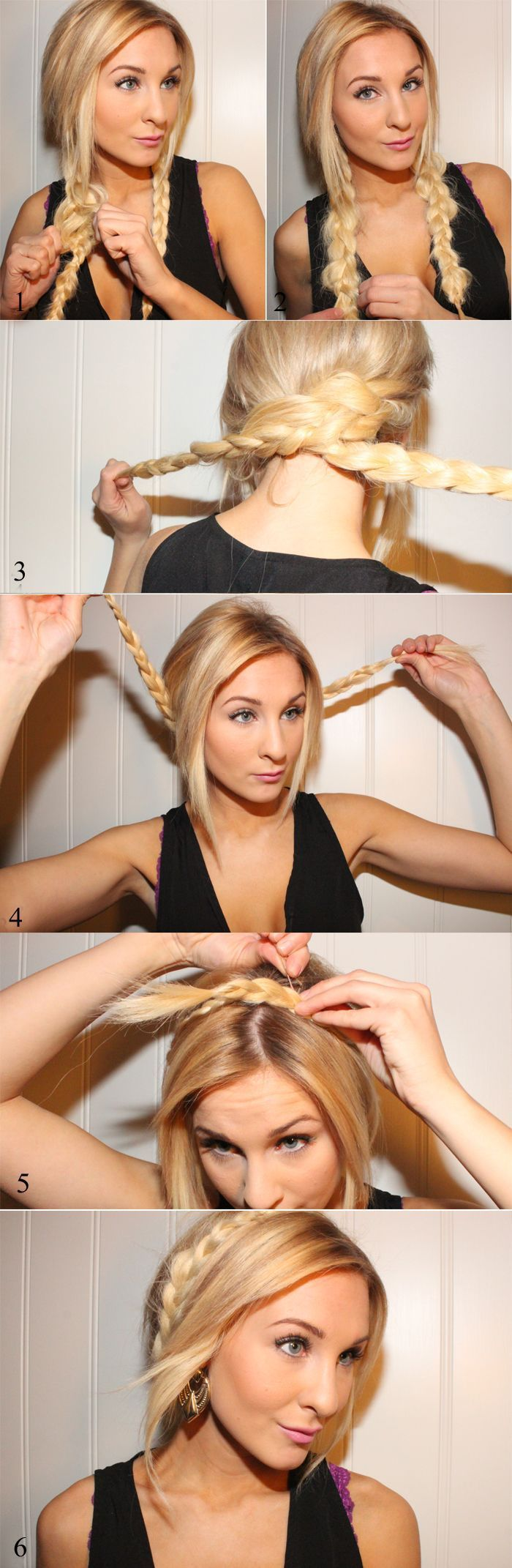 cute braided updo, start with bun then braid