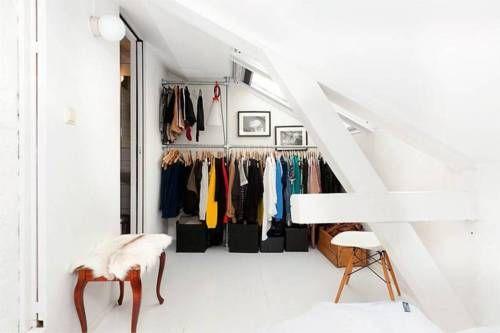 White Closet.: Attic Loft, Loft Closet, Open Closet, Clothing Storage, Wardrobes, Attic Closet, Under Stairs, Loft Spaces, Dresses Rooms