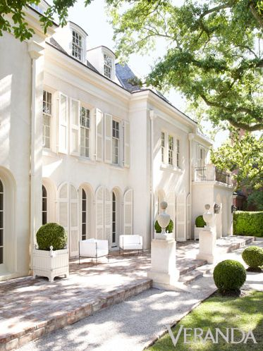 Lovely white Georgian home!. I need some ball-shaped trees.
