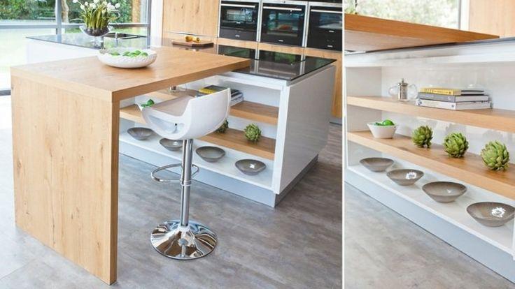 cuisine moderne tendance 2015 espace rangement étagères en bois