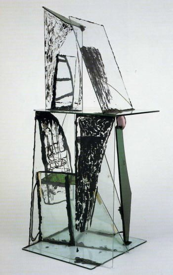 Peter Lanyon: So you see the 'Construction for St Just' (right): this little house of cards made out of bits of broken glass, and he leaves the old putty ...