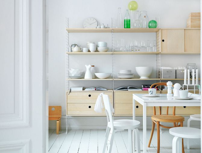 String Furniture  / Petra BindelModern Furniture, Kitchens Spaces, Dining Room, String Shelf, Scandinavian Design, Open Shelves, Interiors, Kitchens Ideas, Swedish Style