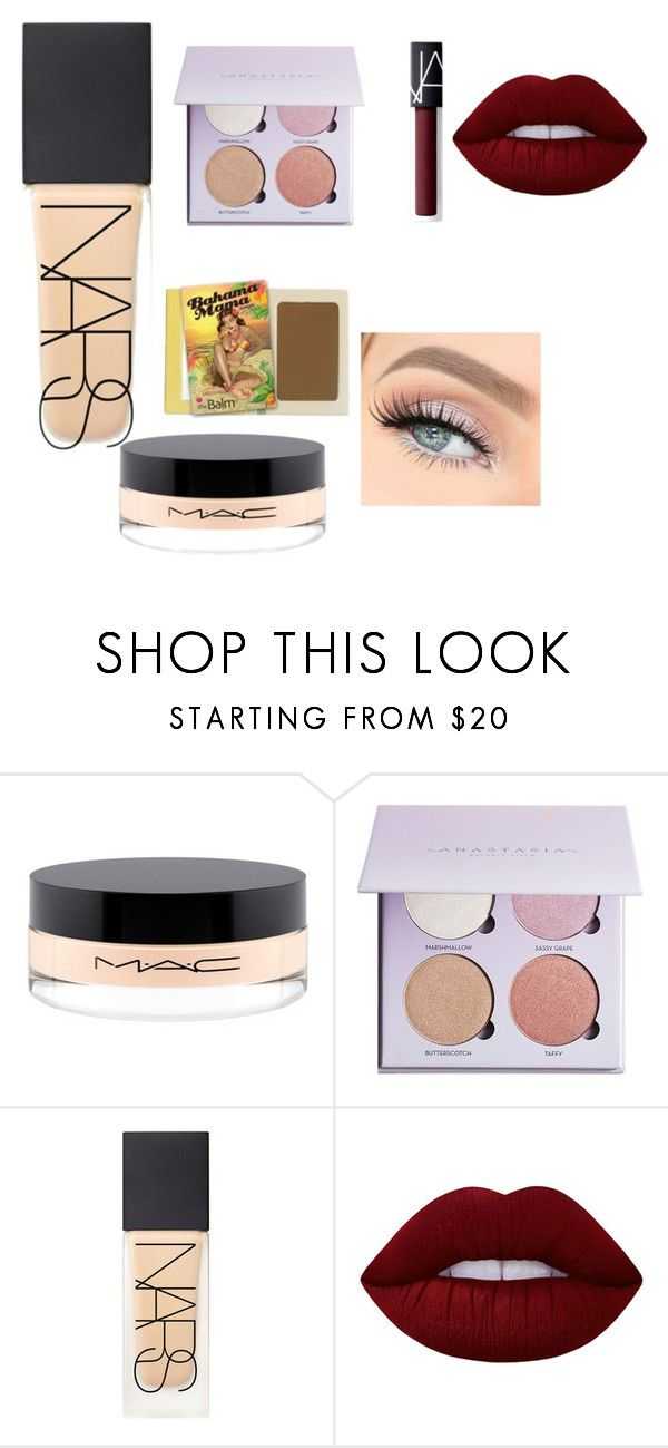 """""""Full face makeup"""" by heddastoltnielsen on Polyvore featuring beauty, MAC Cosmetics, Anastasia Beverly Hills, NARS Cosmetics, TheBalm and Lime Crime"""