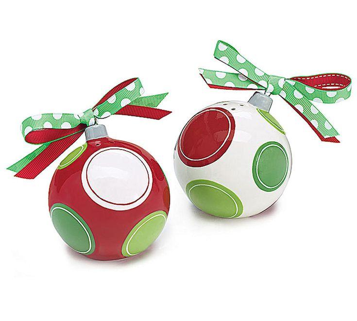 "Christmas Ornament Salt Pepper Shakers Ceramic 3"" Ea burton+BURTON Gift Boxed #BurtonBurton"