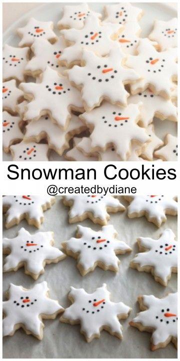 Snowman Snowflake Cookies @createdbydiane #winter #cookies. merken: Zuckerschrift in rot ist ok, in braun zu hell. lieber nächstes Jahr Schokolade nehmen.