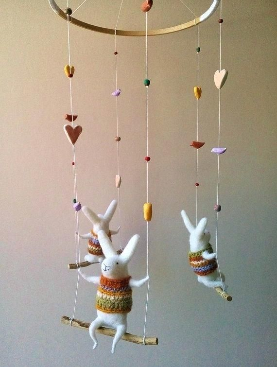 Adorable Bunnies And Hearts Baby Mobile Felt Baby Nursery Diy