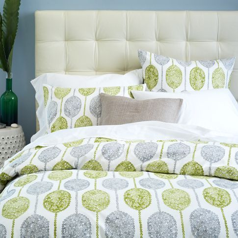 GUEST ROOM: West Elm Dot Medallion Quilt Cover and shams - caper. But brighter but still in your colour palette