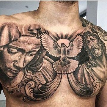 tatuajes religiosos para hombres en el pecho