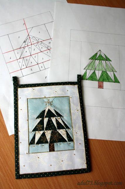 """Новогодняя гирлянда в технике """"paper piecing"""". Флажок седьмой"""