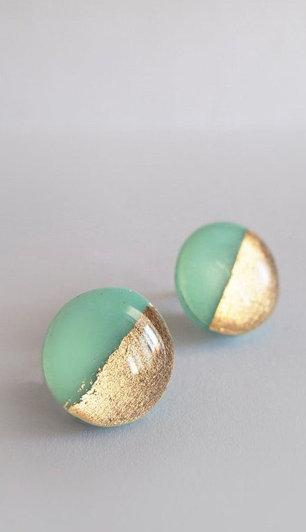Round Steel Posts Mint Gold asics   Mint mens Stud and kinsei Mint Earrings Gold   gel   Earrings  Surgical Green