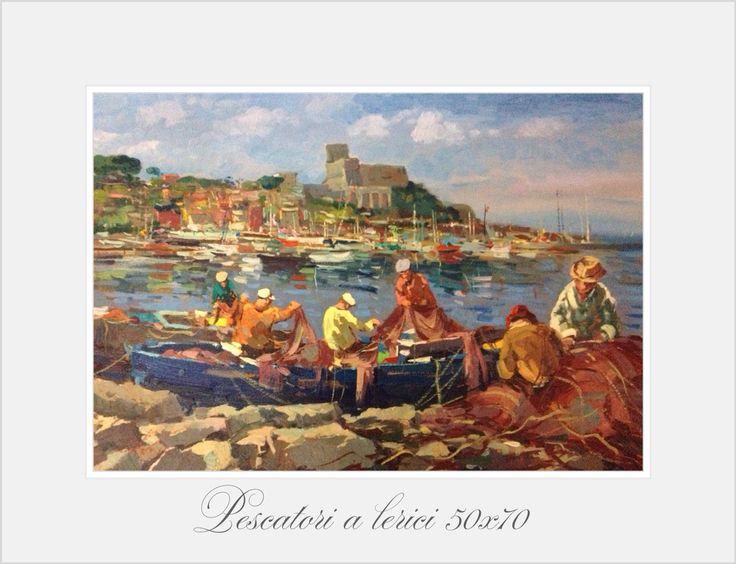 Pescatori a Leririci 50x70 olio su tela