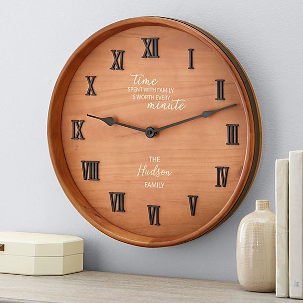 Time Spent With Family Wine Barrel Clock Personalized Bridal Shower Gifts Unique Bridal Shower Gifts Personalized Bridal Party Gifts