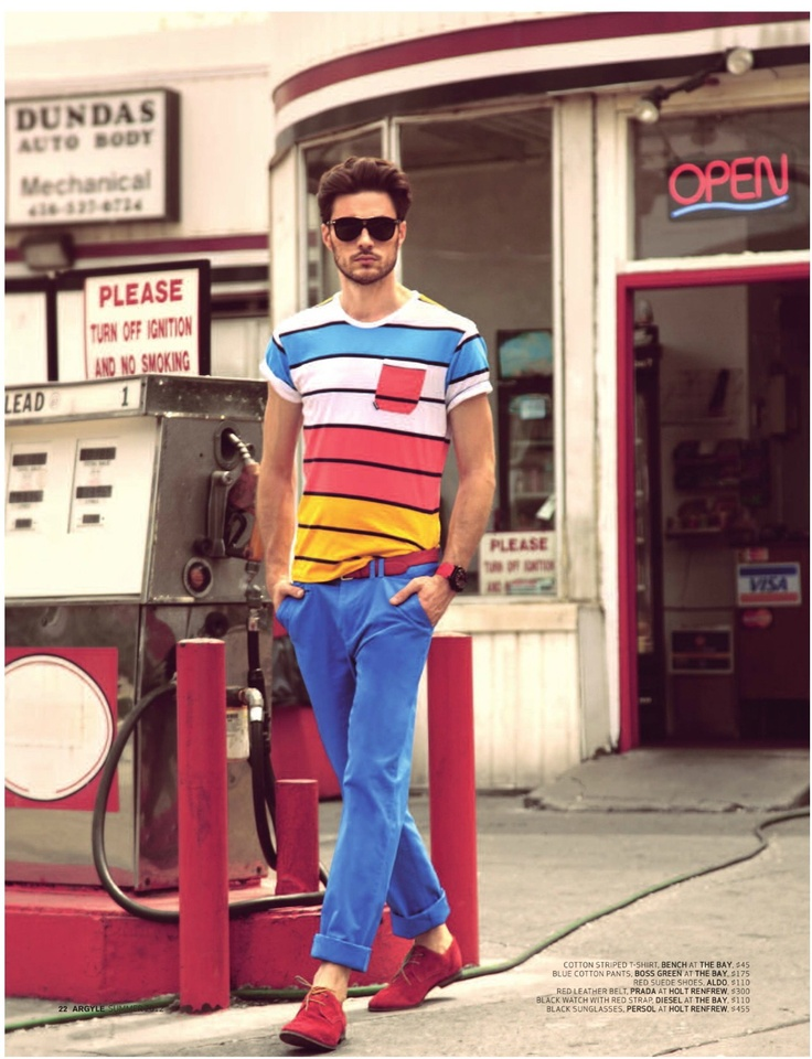 Seems like color blocking is here to stay for quite sometime. Update it by adding interest with detailing.    The outfit shown here is another perfect combination for a man out and about the town on a weekend. And the sock-less shoes bring you to another level of grooming and looking casually polished.: