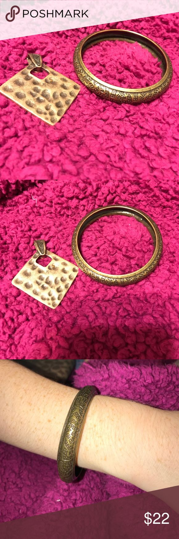 """Premier Designs Bracelet and Magnetic Clip Always great jewelry from Premier Designs! This is a bangle Bracelet that looks """"antiqued"""" or bronze toned. The clip is a magnetic necklace clip, hooks to your chain or rope necklace... changes your look entirely! Premier Designs Jewelry"""