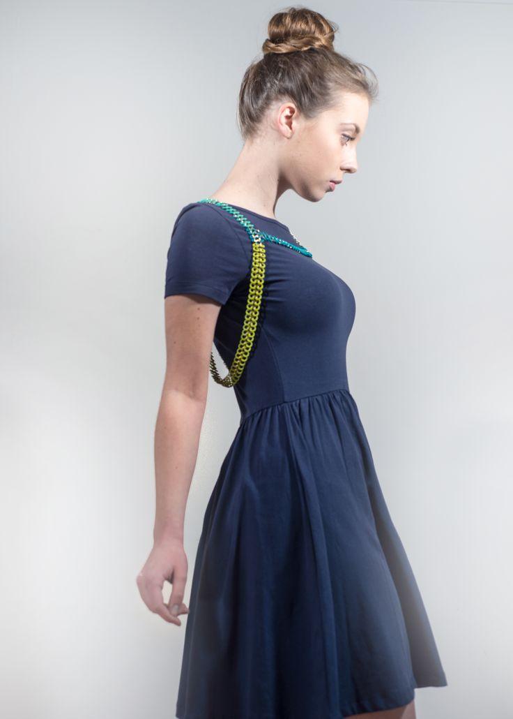 Chartreuse, turquoise and mint body piece/harness by fashion jeweller Floris. Rubber, base metal. floris.pixpawebsites.com