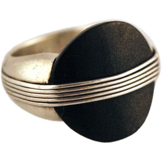 SPRATLING MEXICAN OBSIDIAN STERLING SILVER RING museum quality