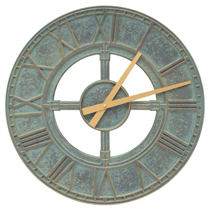 Whitehall Products Hera 16-in. Indoor/Outdoor Wall Clock Bronze Verdigris - 10443