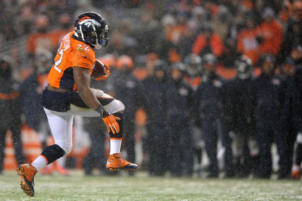 Running back C.J. Anderson #22 of the Denver Broncos scores a fourth quarter touchdown against the New England Patriots at Sports Authority Field at Mile High on November 29, 2015 in Denver, Colorado.