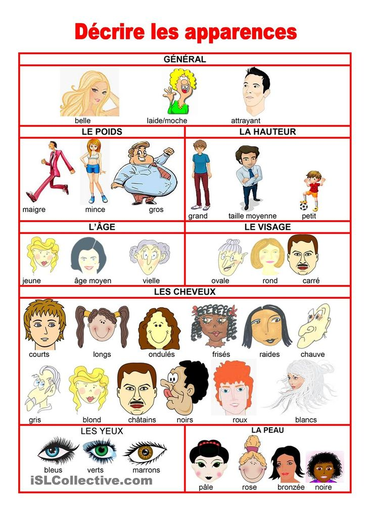 Supplemental picture vocabulary.  To be used to describe your physical appearance as well as friends and family.