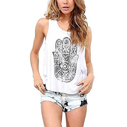 Women Sport Vest Top Material: Cotton Blend. Women Casual Hands Printed Round Neck White. Women Crop Top Tank for Fashion Lady Girl, Soft, Fitness, Perfect to wear in Daily, Working Day,Wedding, Party.. Vest, Sleeveless, Pullover. Package include: 1 X Womens Casual Hands Printed Round Neck White
