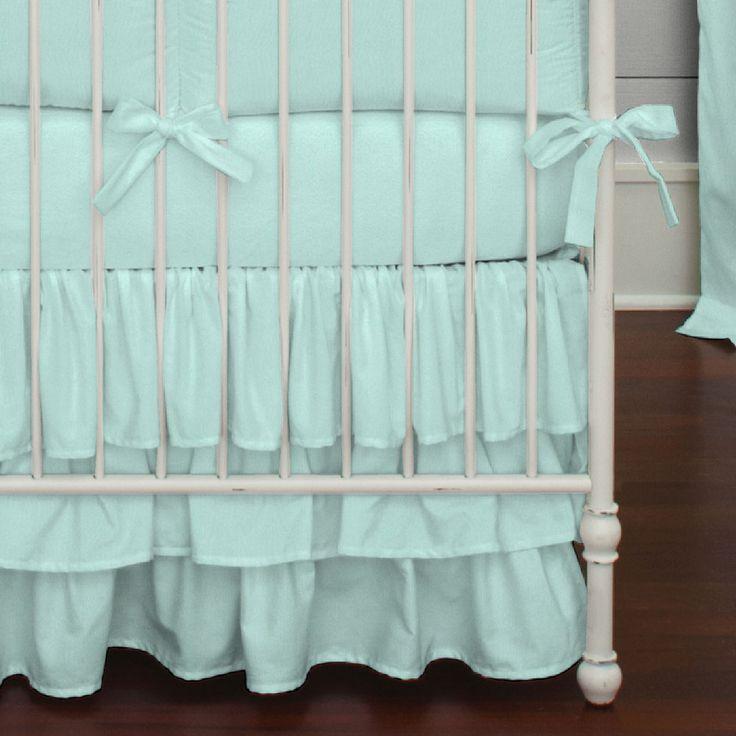Solid Seafoam Aqua Crib Skirt 3-Tiered | Carousel Designs