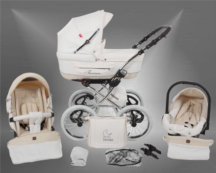 True Love Classic One Plus Kinderwagen Eco Leder (Autositz & Adapter, Regenschutz, Moskitonetz, Speichenluftreifen) 01 Eco White