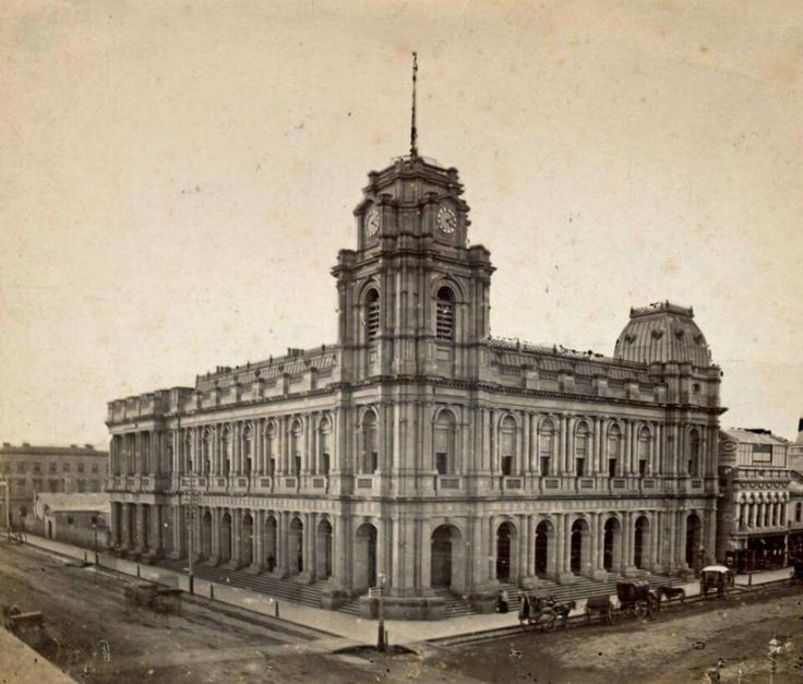 The General Post Office on Bourke St,Melbourne in 1863.