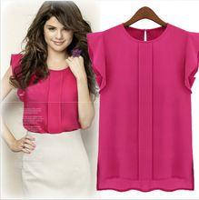 Para mujer de la oficina camisa de gasa manga corta blusa tallas grandes tops color sólido del verano mujeres work wear blusas femeninas Tee