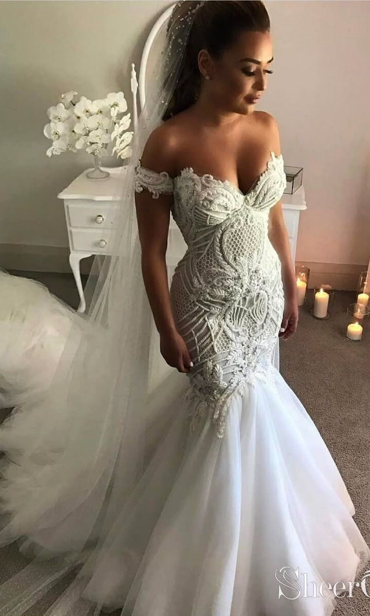 Ivory Off The Shoulder Mermaid Prom Gowns Bohowedding Bohoweddingdresses Weddingdresses Womens Wedding Dresses Lace Mermaid Wedding Dress Wedding Dresses [ 1200 x 722 Pixel ]