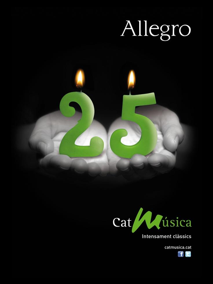 Campaña de lanzamiento del nuevo portal en internet de la emisora de música clásica y campaña conmemorativa de los 25  años. Accesit Premios Anuaria 2009. 2012. Catalunya Ràdio.    Creatividad 4 de 4  Coincidente con el 25 aniversario de Catalunya Radio  Diseño de Artimaña - www.artinet.net