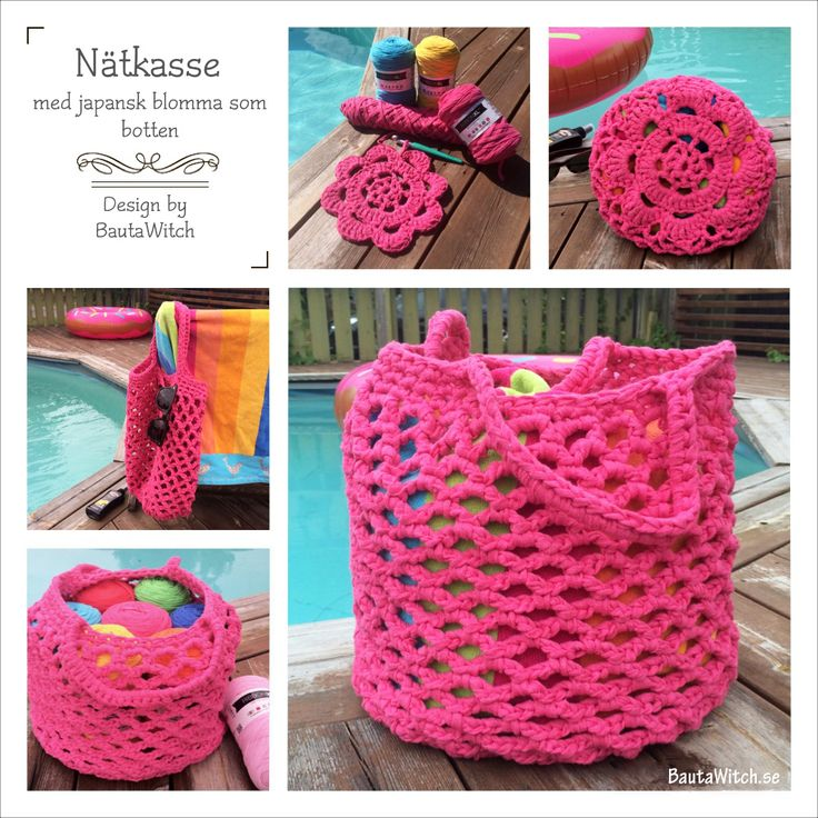DIY - Virkad nätkasse med japansk blomma by BautaWitch - mönster på svenska  Crochet beach bag with Japanese flower bottom by BautaWitch