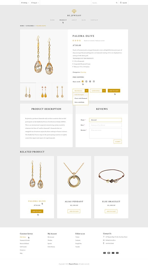 Be Jewelry ! Ecommerce Magento Theme on Behance