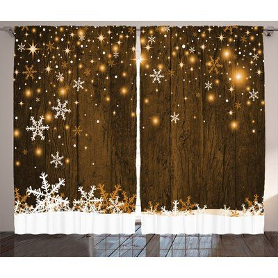 The Holiday Aisle Christmas Decorations Rustic Wooden Backdrop with Snowflakes and Lights Warm Celebration Graphic Print & Text Semi-Sheer Rod Pock...
