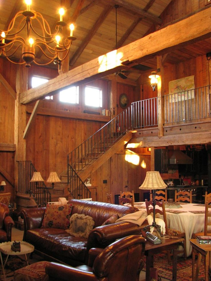 Living and dining area, staircase. Meyer barn.