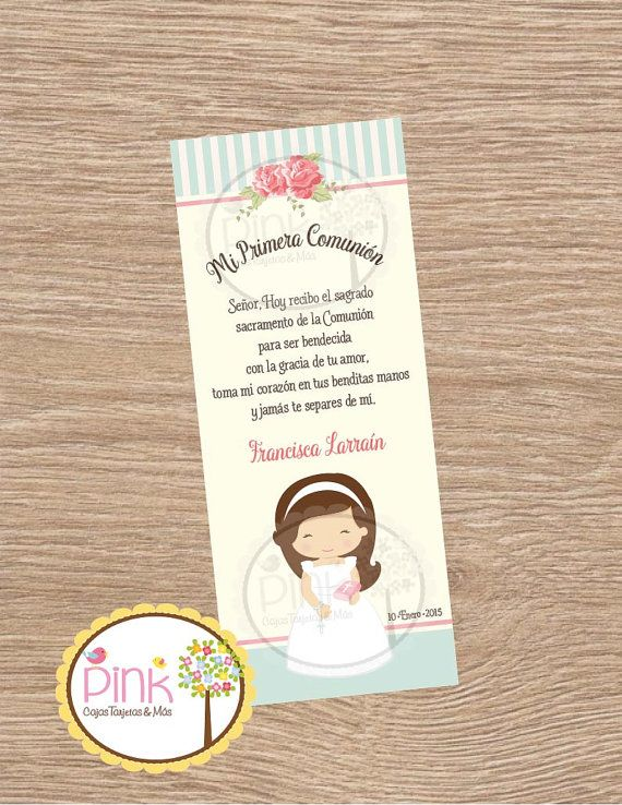 First Communion Favor Cards/ Bookmark / por PinkPaperStudioMiami